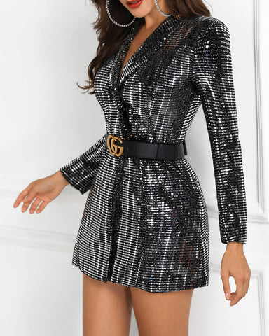 Long Sleeve Sequin Blazer Dress