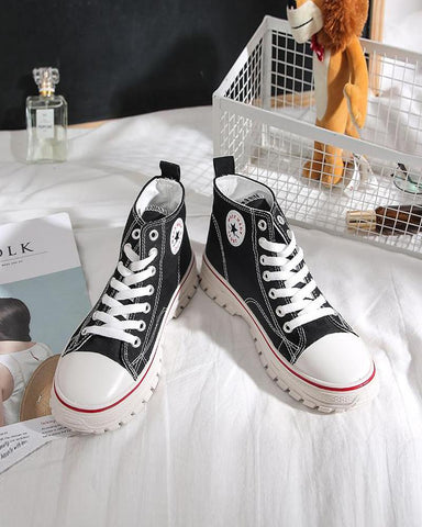 High Top Heeled Lace-Up Sneakers