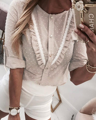 Lace Trim Frill Hem Swiss Dot Blouse