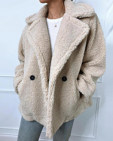 Solid Faux Shearling Pocketed Coat