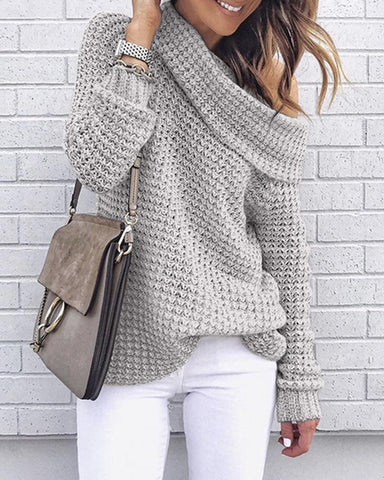 Solid Long Sleeve Loose Knitted Sweaters
