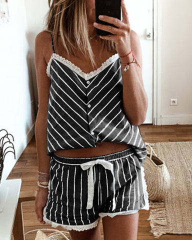 Striped Lace Trim Cami Sets