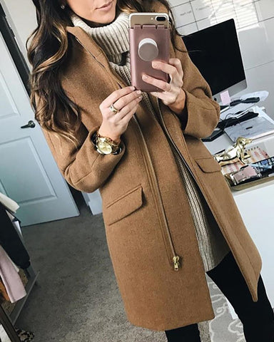 Solid Stand Collar Zipper Pocket Wool Coat