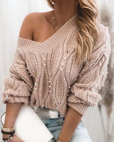 Beaded Long Sleeve Cable Knit Sweater