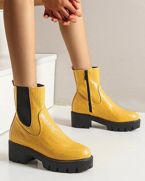 Solid Color Round-toe Motorcycle Boots