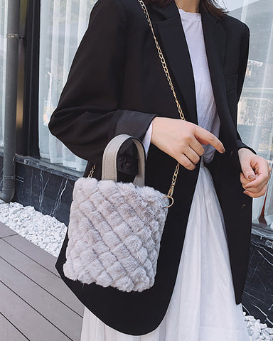 Chain Fluffy Quilted Bucket Bag