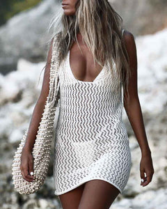 Hollow Out Knit Backless Cover Up Dress Without Panty