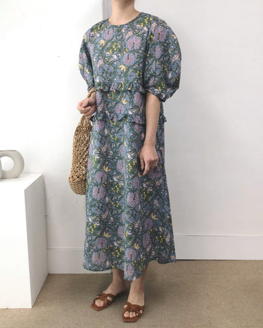 Multicolor Floral Short Sleeve Maxi Dress