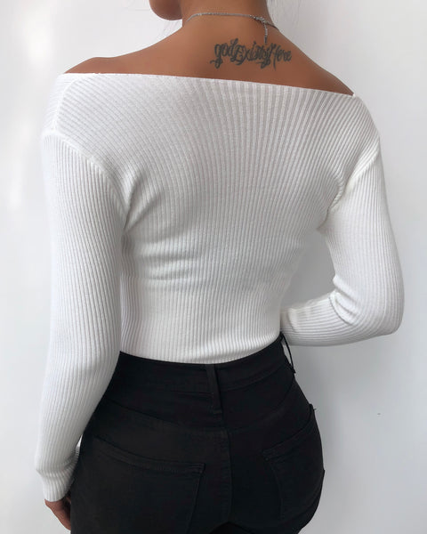 Plain Long Sleeve Ruched Knit Top