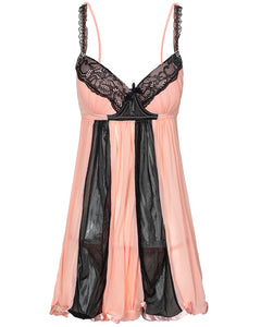 Colorblock Spaghetti Strap Lace Trim Babydoll With Thong