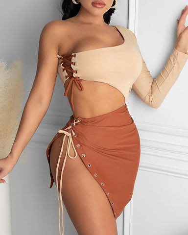 One Shoulder Eyelet Lace-up Colorblock Slit Bodycon Dress