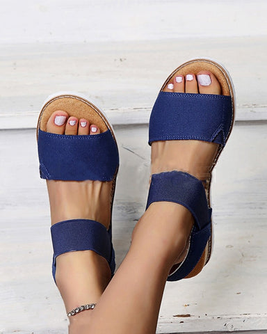 Solid Open-toe Flat Wedge Shoes Sandals