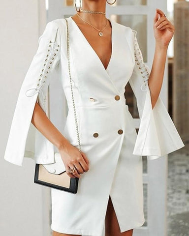 Solid Lace-Up Slit Sleeve Blazer Dress