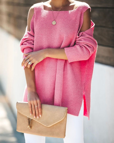 Solid Long Sleeve Loose Cold Shoulder Sweaters