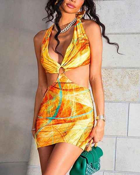 Painting Colorblock Halter Cut-out Mini Dress