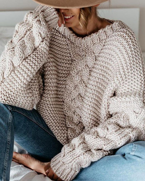 Casual Solid V-neck Loose Sweater