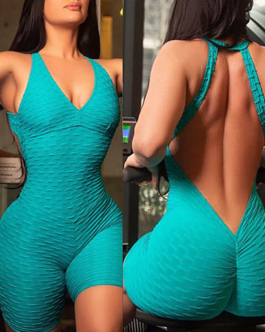 Plunge Bubble Textured Backless Fitted Romper