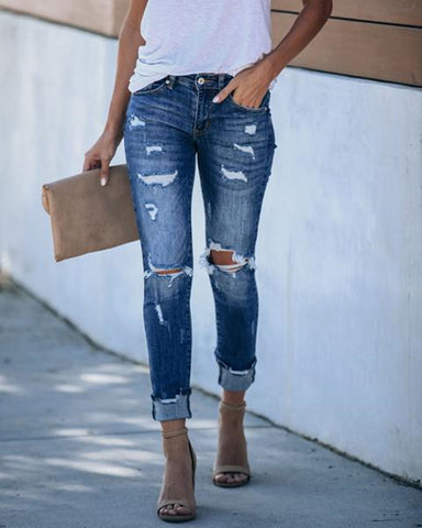 Ripped Cutout Pocket Design Denim Jeans