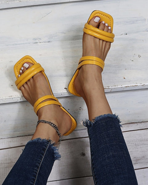Square-toe Solid Color PU Leather Flat Sandals