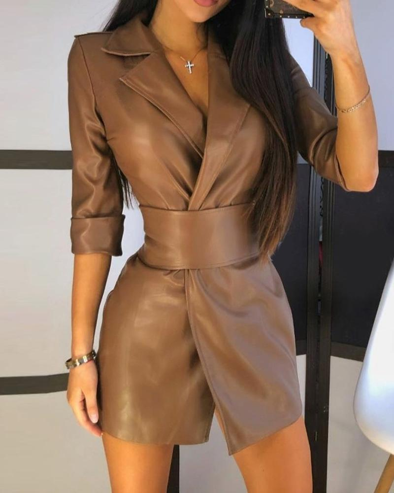 Plain Long Sleeve PU Leather Blazer Dress