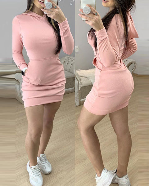 Solid Pocket Design Long Sleeve Hooded Dress