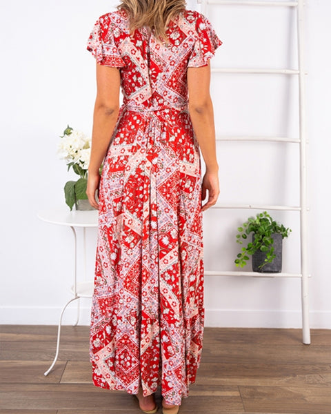 All Over Print Short Sleeve Skinny Waist Slit Long Dress