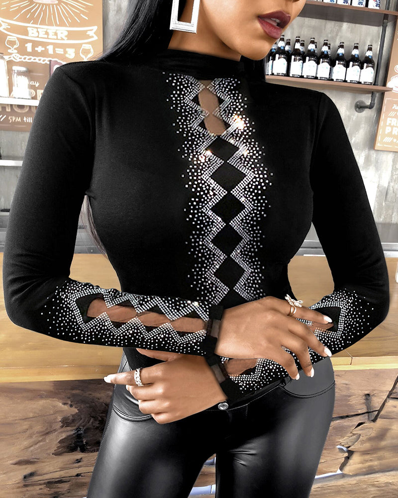 Studded Sheer Mesh Long Sleeve Top