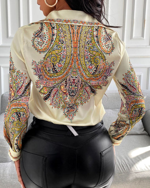 Paisley Print Long Sleeve Satin Shirt