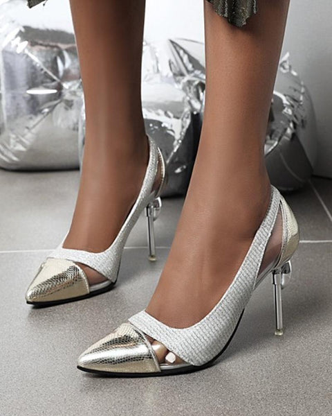 Pointed-toe Splicing Snakeskin Shallow Mouth High Heels