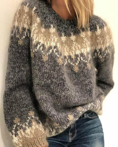 Christmas Patterns Long Sleeve Loose Sweater