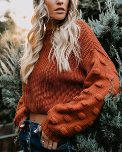 Solid Long Sleeve Loose Knitted Cropped Sweater