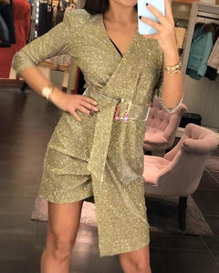 Shiny V-Neck Wrap Belted Scrunched Dress