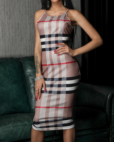 Elegant Halter Plaid Sheath Midi Dress