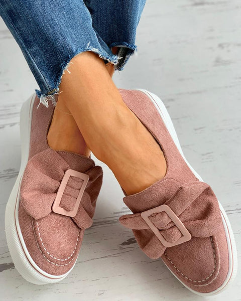 Bowknot Decor Buckled Casual Shoes