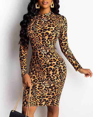 Mock Neck Abstract Leopard Print Bodycon Dress