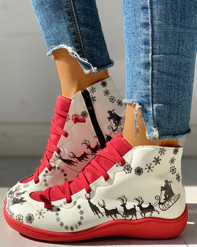 Cartoon Print Patchwork Lace-Up Casual Boots