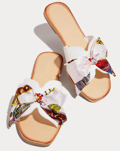 Floral Bow Open Toe Flat Sandals