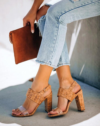 Wood Textured Chunky Heel Sandals