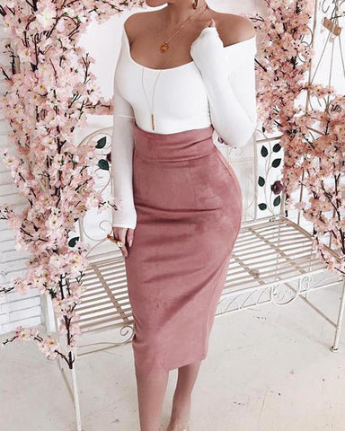 Solid Bodycon Midi Skirt