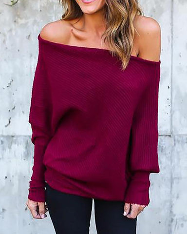 Solid Skew Neck Batwing Sleeve Knitted Blouse