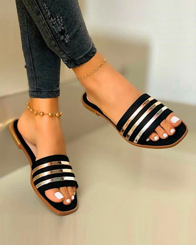 Metallic Striped Flat Sandals