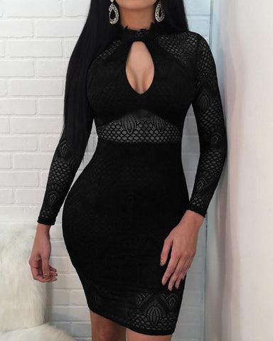Sexy Cutout Front Hollow Out Lace Sheath Dress