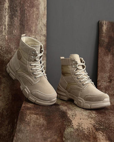 Suede High Top Lace-Up Boots