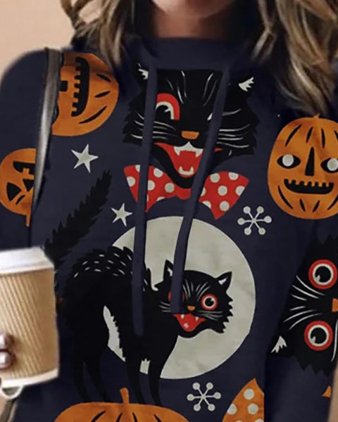 Halloween Cat Pumpkin Print Casual Hooded Top