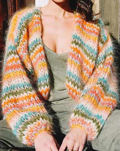 Multicolor Open Front Cardigan