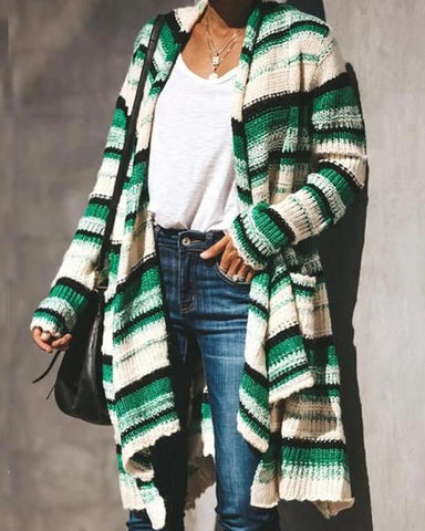 Casual Striped Knitted Long Cardigan