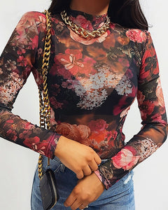 Floral Print Long Sleeve Mesh Design Top