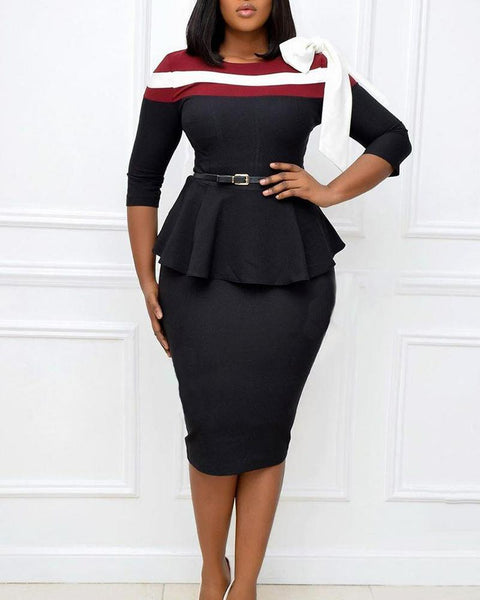 Color Block Bowknot Three Quarter Length Sleeve Midi Wrap Dress