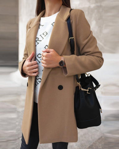 Solid Long Sleeve Loose Trench Coats