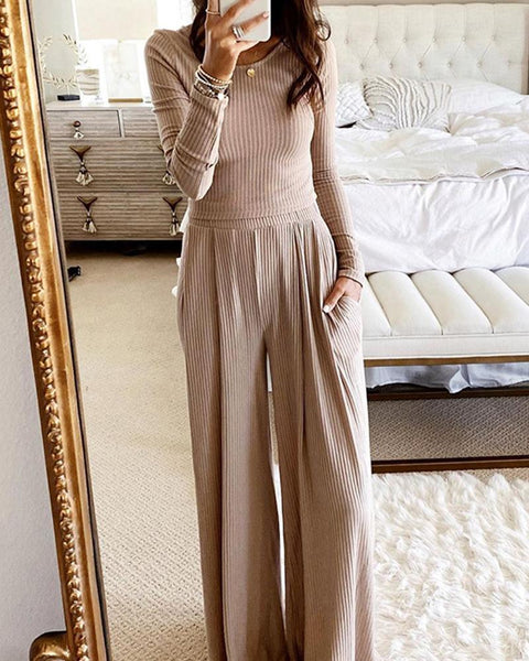Solid Color Long Sleeve Cropped Blouse And Wide Leg Pants